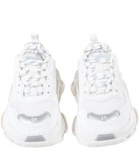 White sneakers Triple S for kids with grey logo