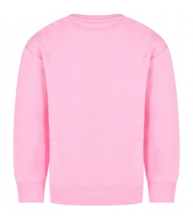 Pink sweatshirt for girl with white logo