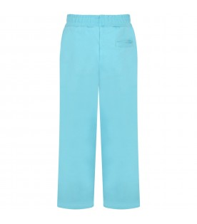 Light blue sweatpant for girl with logo