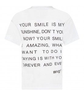 White T-shirt for boy with logo and phrase