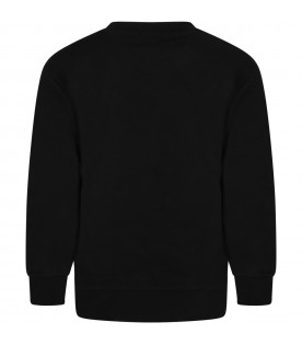 Black sweatshirt for boy with square
