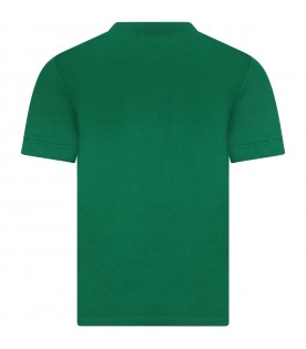 Green t-shirt for boy with logo