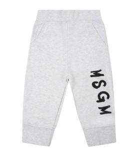 Grey sweatpant for baby kids with logo