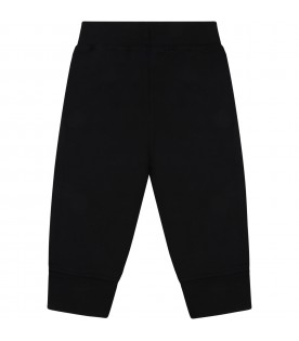 Black sweatpant for baby kids with logo