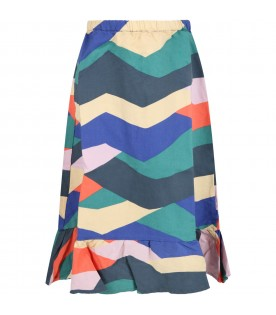 Multiocolor skirt for girl with yellow logo