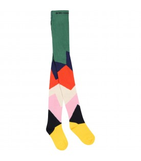 Multicolro tights for kids with logo