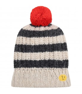 Multicolor hat for kids with logo and smiley