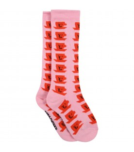 Pink socks for kids with cup of tea