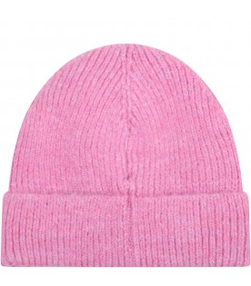 Pink hat for kids with logo