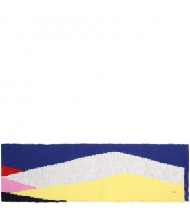 Multicolor scarf for kids with yellow logo