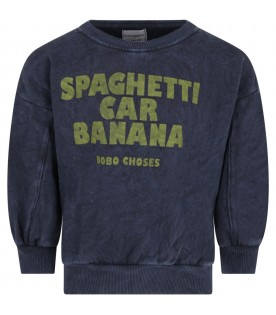 Blue sweatshirt for kids with writing and logo