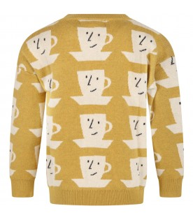 Yellow sweater for kids with cups