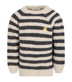 Multicolor sweater for kids with yellow smiley