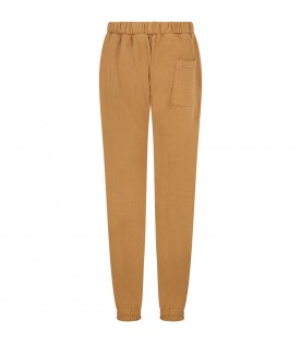 Brown sweatpants for kids with faces