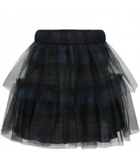 Multicolor skirt for girl with flounces