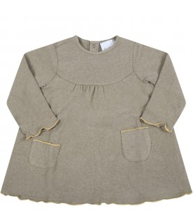 Beige dress for baby girl with gold profiles