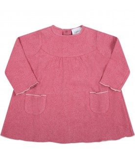 Pink dress for baby girl with white profiles