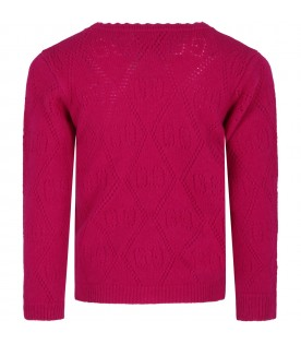Fuchsia sweater for girl with double GG
