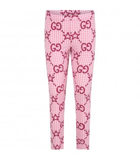 Pink leggings for girl with double GG and stars