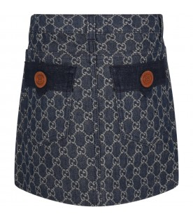 Blue skirt for girl with double GG