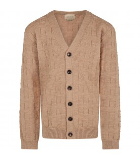 Brown cardigan for kids with G all over