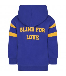 Blue sweatshirt for kids with logo and written