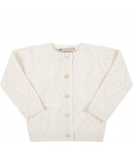 Ivory cardigan for baby girl with double GG