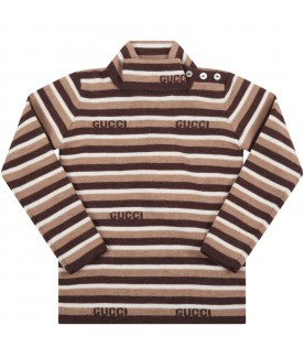 Brown turtleneck for baby boy with logo