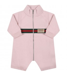 Pink babygrow for baby girl with web detail
