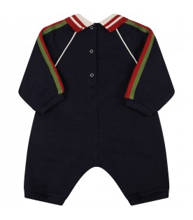 Blue babygrow for baby boy with web detail