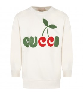 Ivory sweatshirt for kids with Gucci cherry print