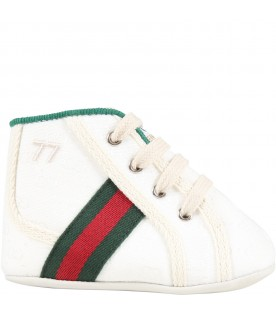 White sneakers for baby kids with double GG