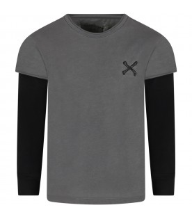 Grey t-shirt for kids with bones