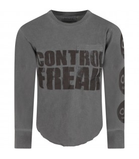 Grey t-shirt for boy with writing