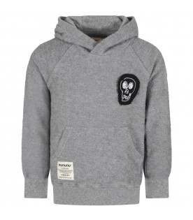 Grey tracksuit for boy with logo