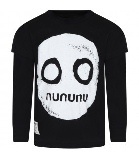 Black t-shirt for kids with smile