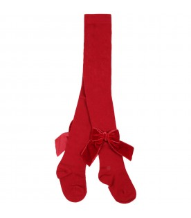 Red tights for baby girl with velvet bows