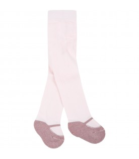 Pink tights for baby girl with ballet flats