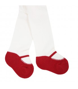 White tights for baby girl with red ballet flats