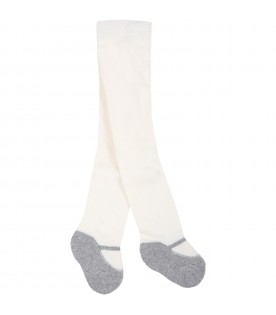 White tights for baby girl with gray ballet flats