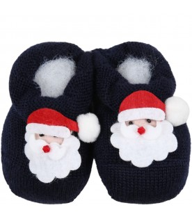 Blue baby-bootee for baby boy with Santa Claus
