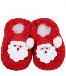 Red baby-bootee for babykids with Santa Claus