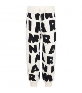 Ivory sweatpant for kids with logos