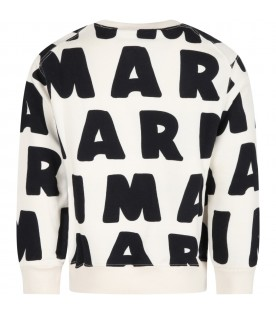 Ivory sweatshirt for kids with logos