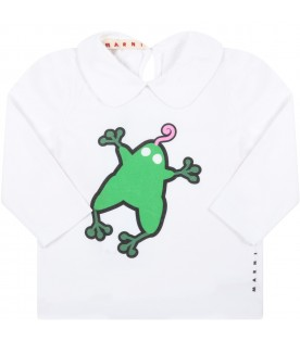 White t-shirt for baby girl with gecko