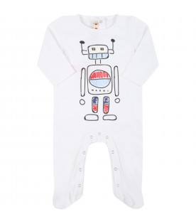 White babygrow for baby kids with robot