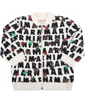 Ivory sweatshirt for baby kids with prints