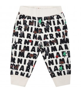Ivory sweatpant for baby kids with prints