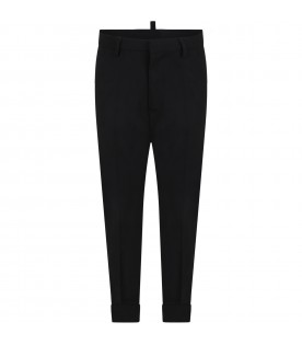 Black pants for boy with logo