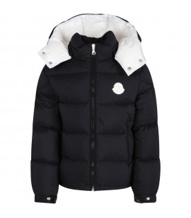 """Black """"Ercan"""" jacket for boy with white logo"""